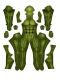 Male Musle Shade Suit No Mask Green/ Nude/ Red