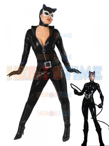 Black DC Comics Shiny Metallic Catwoman Superhero Costume