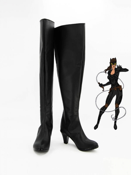 Catwoman Black Superhero Cosplay Boots