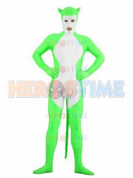Green & White Spandex Catwoman Style Superhero Costume