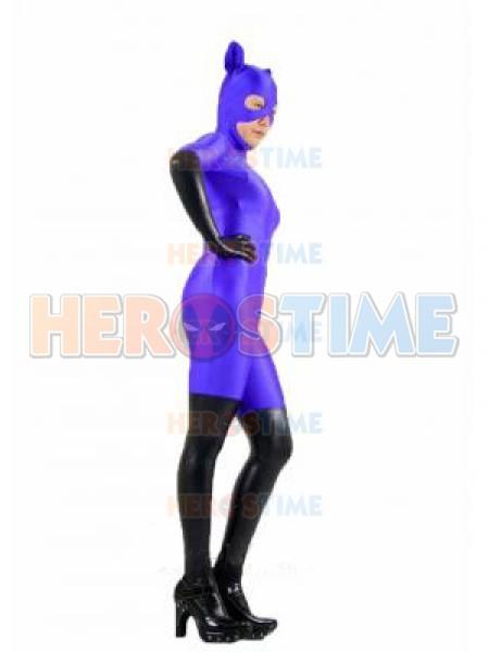 Purple & Black Spandex Catwoman Superhero Costume