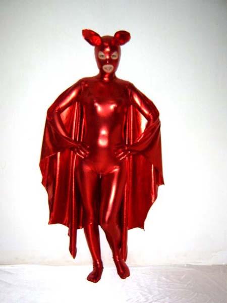 Red Shiny Metallic Catwoman Superhero Costume With Cape
