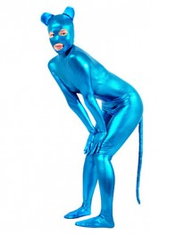 Shiny Metallic Blue Catwoman Costume