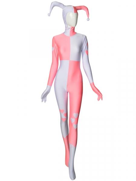 Disfraz clásico de Spandex de Harley Quinn en color rosa y blanco