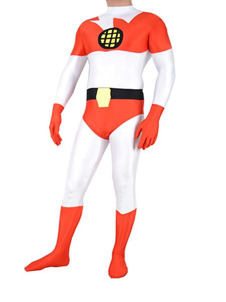 Capitán Planeta y los Planetarios  Traje Blanco Naranja de Spandex de Capitán Planeta