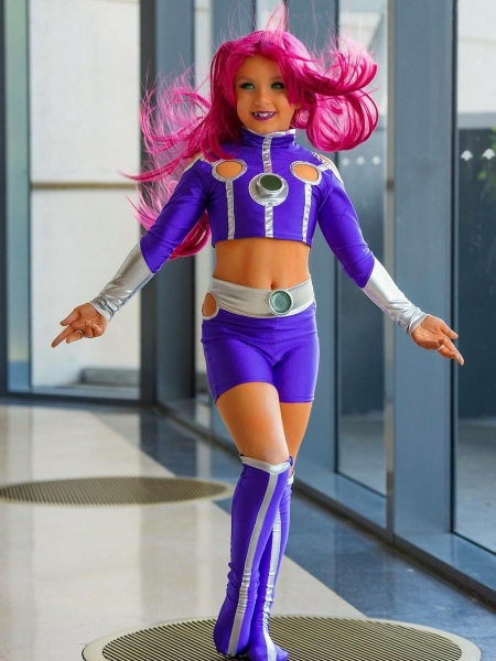 Kids Starfire Teen Titans Cosplay Superhero Costume