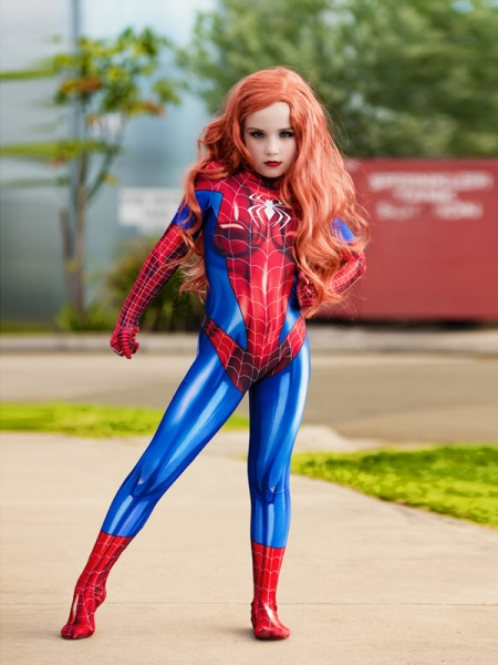 Mary Jane Suit MJ Spider Girl Kids Superhero Cosplay Costume Kid Halloween Costume