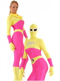 Blue Talon Spandex Pink & Yellow Superhero Costume