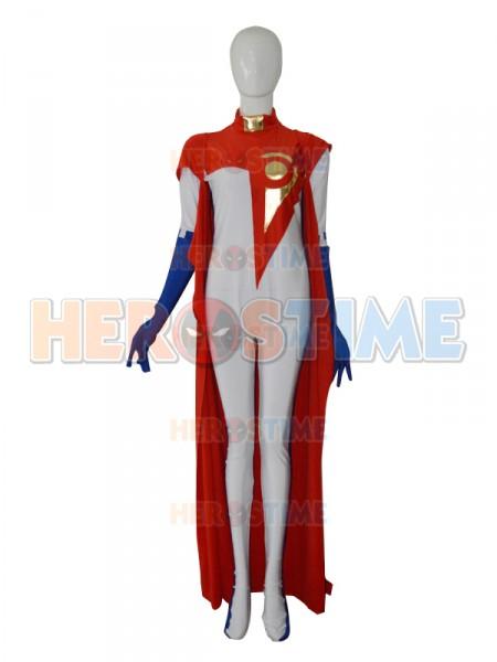 Custom White & Red Female Superhero Costume