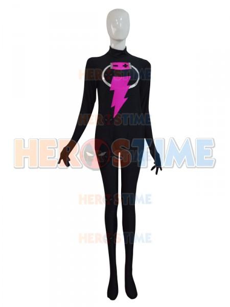 New Style Black Female Lightning Pattern Superhero Costume