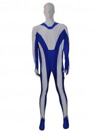 Custom White & Blue Fullbody Zentai Suit