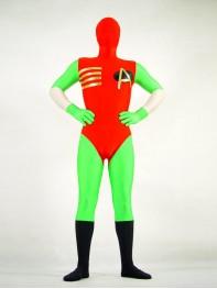 Fullbody Red & Green Spandex Superhero Costume