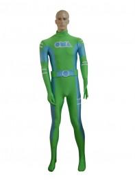 Green & Sky Blue Spandex Custom Superhero Costume