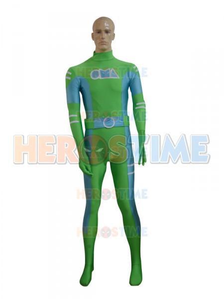 Traje Personalizado de Spandex de color Verde & Celeste