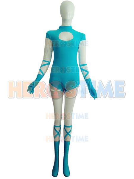 Light Blue And White Spandex Superhero Costume