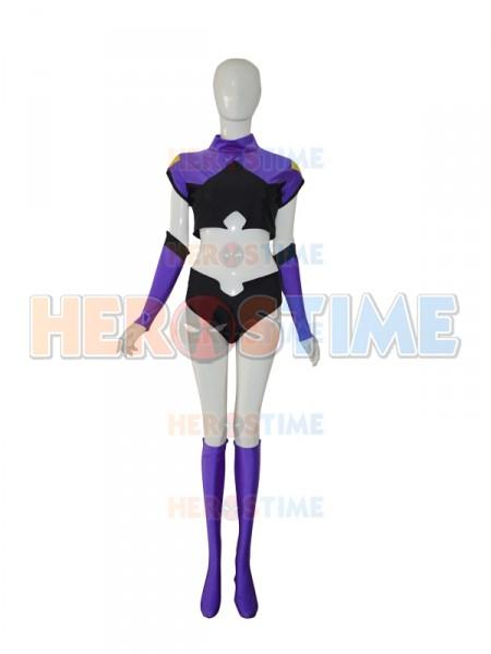 Purple & Black Custom Two-piece Female Superhero Costume