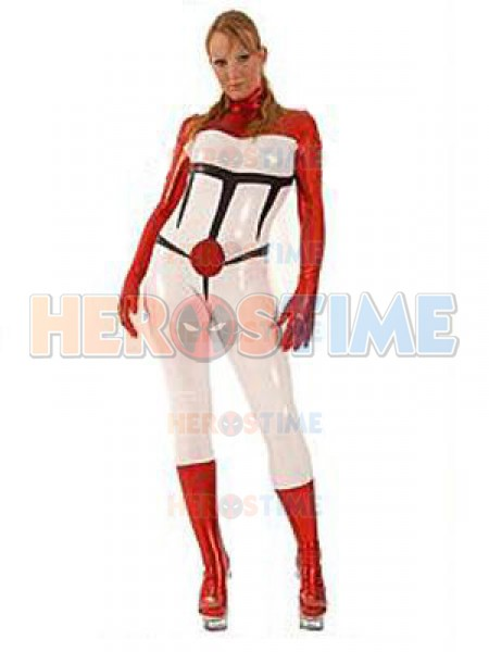 Red & White Metallic Unisex Superhero Costume