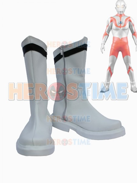 Ultraman Cosplay White PU Boots