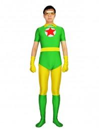 DC Comics Red Star Green & Yellow Spandex Superhero Costume