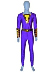 Shazam Suit Purple Captain Marvel Costume Halloween Cosplay Costume