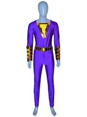 Shazam Suit Purple Captain Marvel Costume Halloween Cosplay Costume
