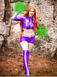 Starfire Spandex Cosplay Suit Teen Titans Superhero Costume