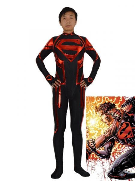 Black & Red Superboy Superhero Costume