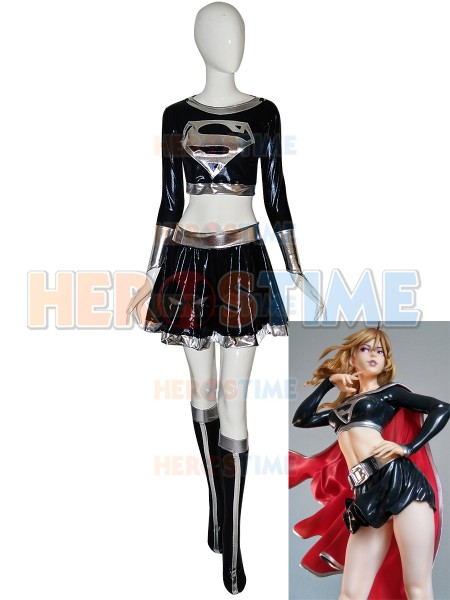 Dark Supergirl Suit Metallic Superhero Costume