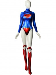 The New 52 Supergirl Printing Female Superhero Cosplay Costume