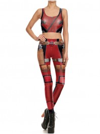 Fashion Women Leggings & Top Deadpool Superhero Sports Suits