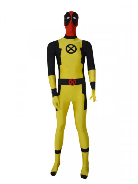 New Custom Yellow Deadpool Superhero Costume
