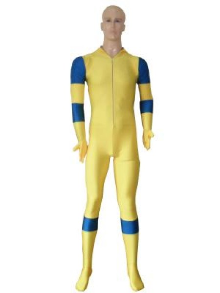 Yellow & Blue No Hood Spandex Deadpool Costume