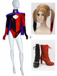 Harley Quinn Girls Super Villain Cosplay Full Set