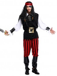 2017 Newest Pirate Costume Adult Mens Halloween Costume Fancy Dress