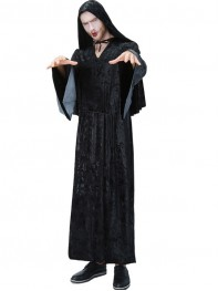 Adult Mens Wizard Halloween Black Ghost Fancy Costume