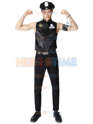 Short Sleeve Police Halloween Costuem Mens Fancy Costume