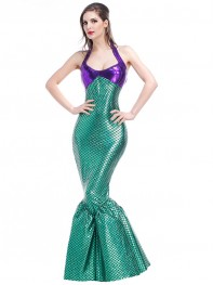 2017 Sexy Halter Mermaid Halloween Costume Long Tail Dress