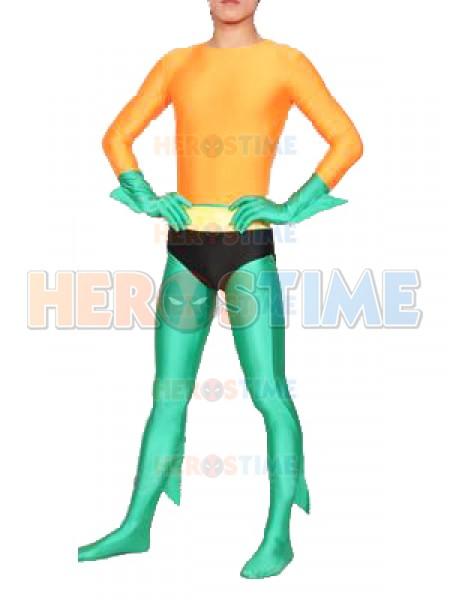 Traje Naranja & Verde de superhéroe Aquaman de Cosplay