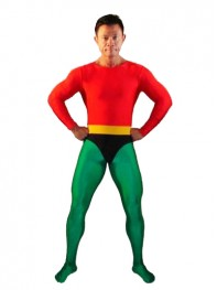 Red & Green Spandex Aquaman Superhero Costume