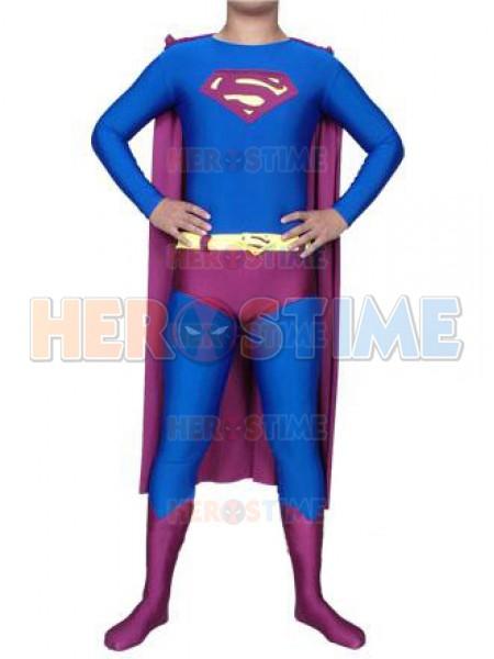 Blue & Purple Superman Spandex/Lycra Superhero Costume