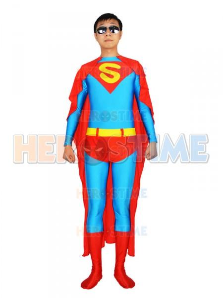Blue & Red Superman Spandex Superhero Costume