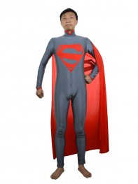 Gray & Red New Superman Superhero Costume