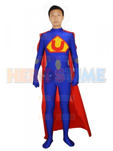 Male Superhero Strong Superman Style Blue Costume