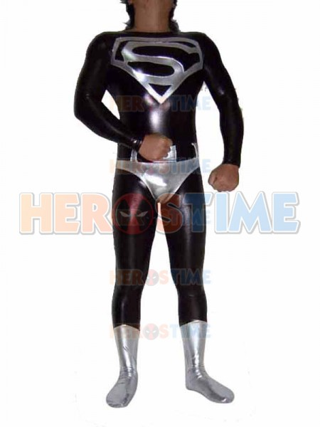 Silver & Black Metallic Superman Superhero Costume