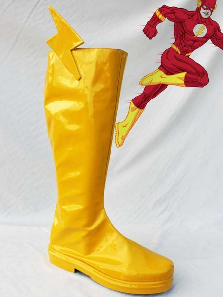 The Flash Superhero PU Cosplay Boots