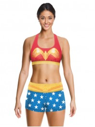 Wonder Woman Female Superhero Fitness Short Costume Sports Bra Pants
