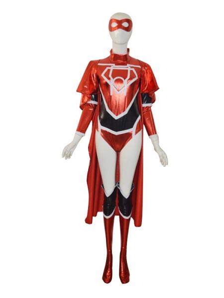Red Lantern Crops Female Shiny Superhero Costume