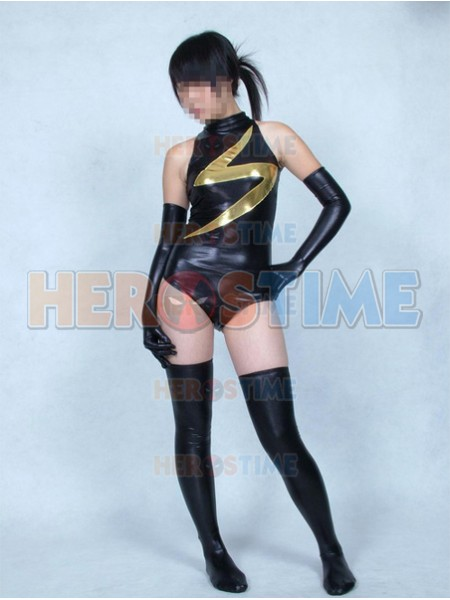 Black Ms-Marvel Shiny Metallic Superhero Costume