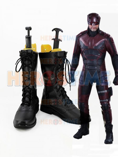 Daredevil Black Superhero Mens Superhero Cosplay Boots