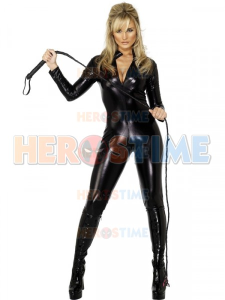 Black Cat Shiny Metallic Superhero Costume